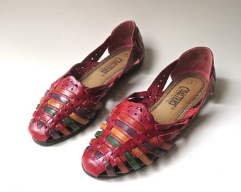 Boho vintage Multicolor Woven Red Leather Huarache Sandals / Coasters / made in Brazil