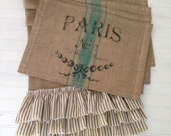 French Grain Sack  Burlap Table Runner and Placemat Set  with Paris print    Farmhouse / Lake House / Beach / Coastal / Cottage Chic