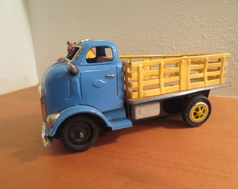 Vintage Truck, Metal and Tin Flatbed Friction Truck Japan Blue Toy Truck