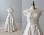 Lace Wedding Dress / Net Illusion Bodice / Full Skirt / Chapel Length Train / Bianchi
