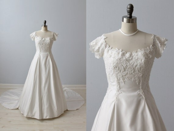 Wedding Dresses With Illusion Bodice : Lace wedding dress net illusion bodice full skirt chapel