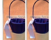 Custom Colors Satin Flower Girl Basket..SET OF 2..You Choose The Colors..Shown in Navy blue/pewter gray