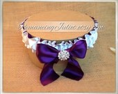 Simple Satin Deluxe Dual Color Bridal Garter with Rhinestone Accent..You Choose The Colors..shown in white/eggplant deep purple