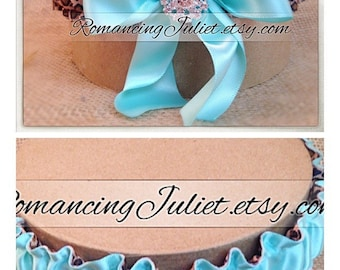Simple Satin Deluxe Dual Color Bridal Garter Set with Rhinestone Accent..You Choose The Colors..shown in cheetah/aqua