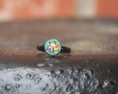 R15 Vintage Micro Mosaic Flower ITALY Upcycled Cocktail Ring Bridesmaid Gift