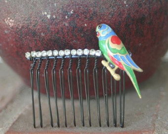 H182 Pretty Bird Upcycled Vintage Enamel Parrot Bird Rhinestone Hair Comb