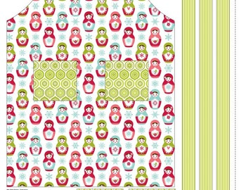 SUMMER SALE - Merry Matryoshka - Apron Panel in Green - Sku P4384 - by Carly Griffith for Riley Blake Designs