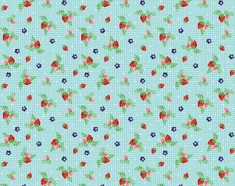 FALL SALE - 4 1/8 Yards - Vintage Market - Strawberries in Aqua - Sku C4566 - by Tasha Noel for Riley Blake Designs