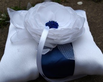 Wedding Pillow With White Colored Flower and Navy Ribbon  - Ring Bearer Pillow - Wedding Ring Pillow