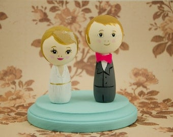 Custom wedding cake topper, personalized and hand painted, wood peg people