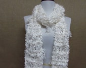 GladRagz Shredded Knotted Fashion Scarf in White Lace  - Ready To Ship Women's Lacy Scarf Girl's Scarf Wedding Bridal Fringe Scarf