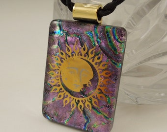 Fused Glass Sun Necklace - Solar Eclipse - Dichroic Fused Glass Pendant - Image Pendant - Dichroic Glass X7641