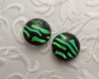 Dichroic Earrings - Green Earrings - Stud Earrings - Post Earrings - Small Earrings - Dichroic Fused Glass Earrings - Button Earrings 1567