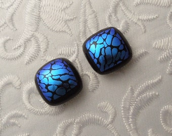Button Earrings - Dichroic Earrings - Blue Earrings - Stud Earrings - Post Earrings - Small Earrings - Dichroic Fused Glass Earrings 1628