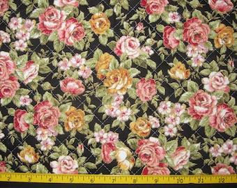 Pre Quilted Fabric Half Meter Cut Roses Design Black