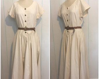 White Denim Dress with Braided Belt
