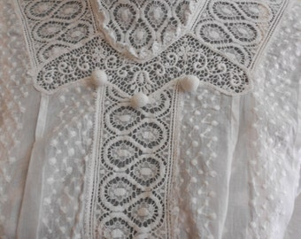 """1915, 34"""" bust, white dotted Swiss cotton dress"""