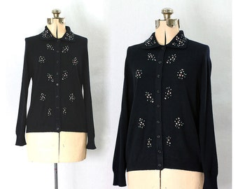 Vintage 50sMidnight's Bouquet Cardigan Sweater