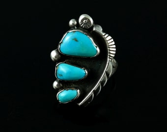 Ring, Size 9, Native American, Genuine Turquoise, Sterling Silver, Vintage, 3 Stone, Hallmark L Platero