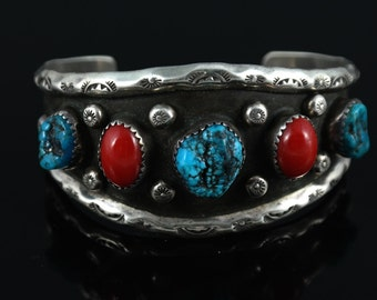 Vintage Native American Turquoise and Red Coral Sterling Silver Cuff Bracelet Signed JRM