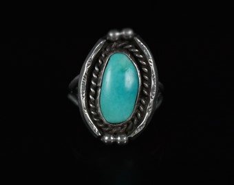 Ring, Size 6, Sterling Silver, Oval Stone, Blue Turquoise, Southwestern Jewelry, Silver Ring 925