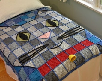 Crochet Baby Kitty Throw blanket afghan INSTANT pdf PATTERN DOWNLOAD use cotton, acrylic, wool Stash Buster teen, tween, dorm bonus Frog Hat