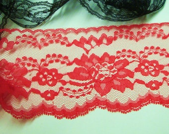"Red Lace Trim 4"" inch Wide Flat Lace 5-25 yds for Sewing, Wedding Decor Gift Wrap Favor Ties Banner Streamers Floral Sexy Red Embellishment"