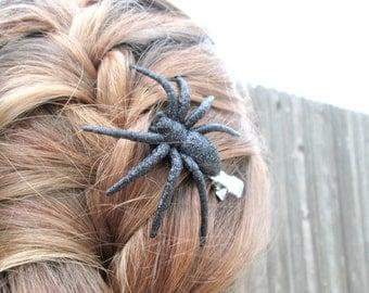 Black Glitter Spider Hair Clip