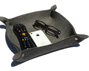 TV Remote Control Holder Caddy Organizer Tray in 5mm Merino Wool Felt Home Organization and Storage