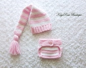 Newborn Baby Girl Stocking Hat and Diaper Cover Set Pink and White Stripes