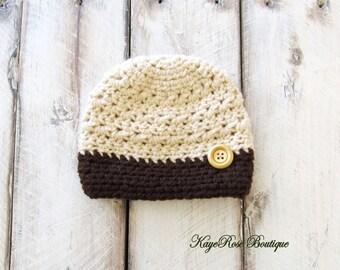 Newborn to 3 Month Old Baby Boy Crochet Button Hat Khaki and Brown Stripe