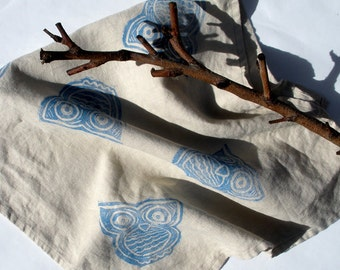 Owl Linen Tea Towel, Dish Cloth, Hand Printed Dish Towel