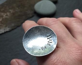 be still - textured sterling silver ring