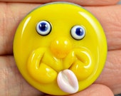 Sunshine - face - glass cabouchon - lampwork cabouchon -  from Izzybeads SRA UK