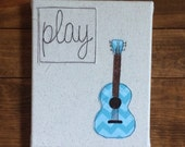 "Wall hanging, wall art, wrapped canvas Play Guitar Inspirations Wall Art - fabric wrapped canvas 8""x10"" - free motion embroidery"