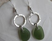 Sea Glass Earrings  - Seaglass Teardrops in Olive Green Sea Glass - Beachglass Earrings