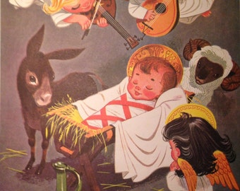 1957 Away in the Manger Antique Illustration