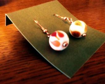 Orange drops, Glass dangle earrings