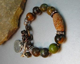 Turquoise Bracelet, Jasper Bracelet, Artisan Bracelet, handmade, Art Jewelry, Charm Bracelet, Turquoise, Natural, Beaded Bracelet, Artisan