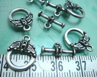 last stock -40% / B308SA / 12sets - Antique Silver Plated Fancy Toggle Clasps / Rod & Ring Findings