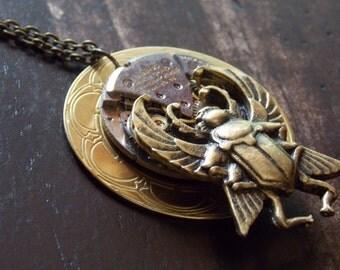 Scarab Beetle Necklace Steampunk Jewelry Watch Movement Brass Clockwork