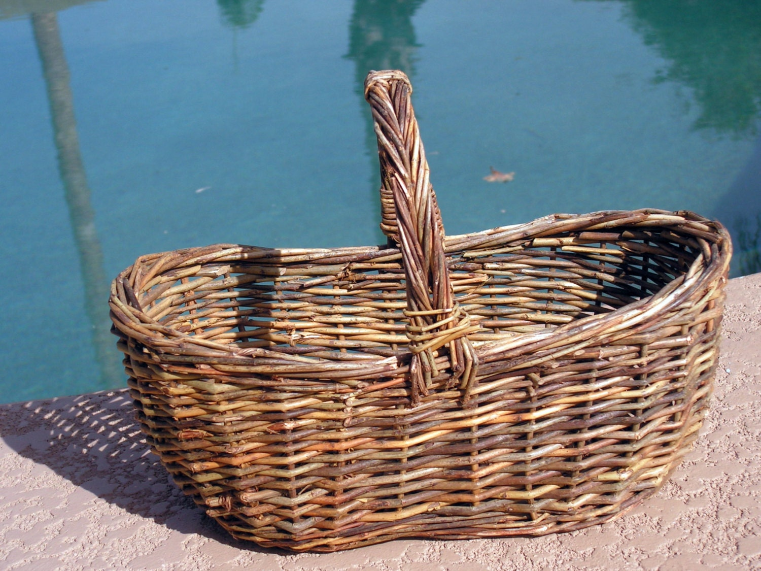 How To Weave A Basket Out Of Twigs : Small woven gathering basket twig with by retrosideshow