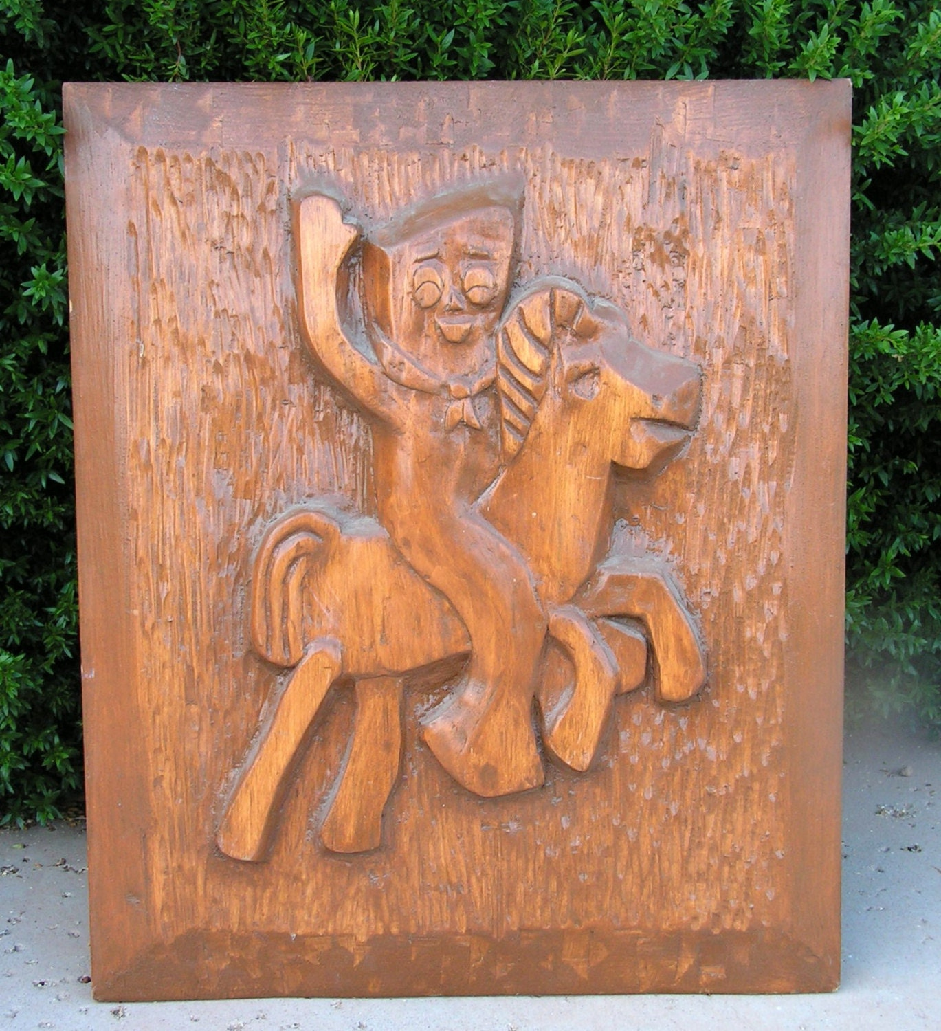 Vintage gumby pokey horse wood carving d relief wall