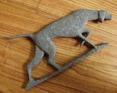 late 1940s hunting dog in metal for your wall - charity for animals