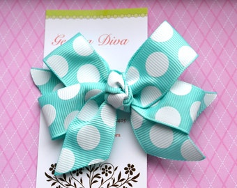 Mint with White Dots Classic Diva Bow