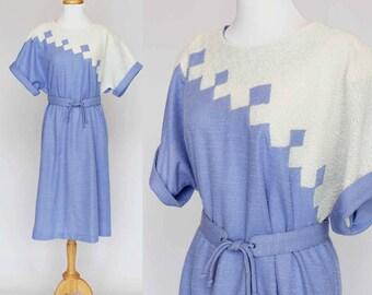 70's Shift Sheath Dress / Purple & White Polyester Knit / Tie Belt / Large