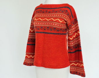 70's  Hippie Boho Sweater/ Flared Sleeves / Orange / XSmall to Small
