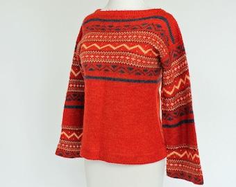 70's  Hippie Boho Sweater/ Flared Sleeves / Orange / XSmall to Small