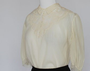 40's/50's Sheer Antique White Blouse / Pin Tucks / Pleated Bodice / Small to Medium