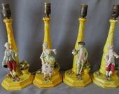 4 Rare Italian Art Pottery Lamps by Agostinelli Dal Prà